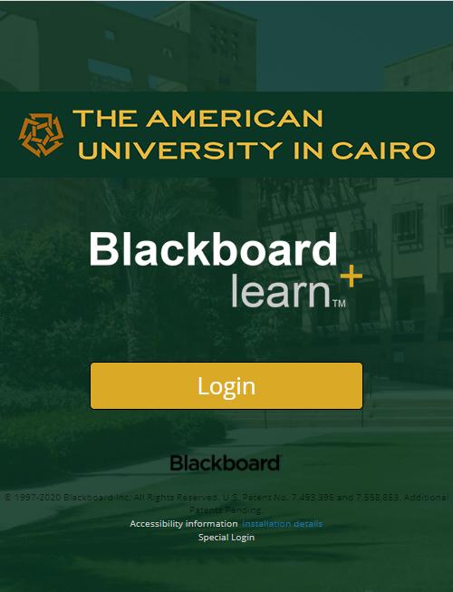 Blackboard login page